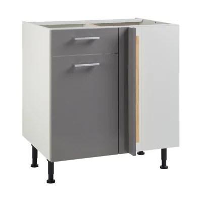 meuble de cuisine spicy gris d angle facade 1 porte 1 tiroir kit fileur caisson bas l 80 cm