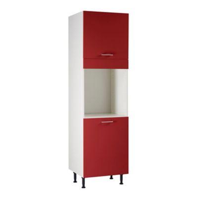 meuble de cuisine spicy rouge facades 2 portes bandeau four caisson colonne l 60 cm