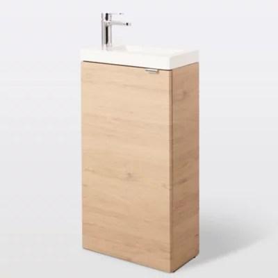 meuble lave mains a poser goodhome imandra bois l 44 x h 79 cm plan vasque beni