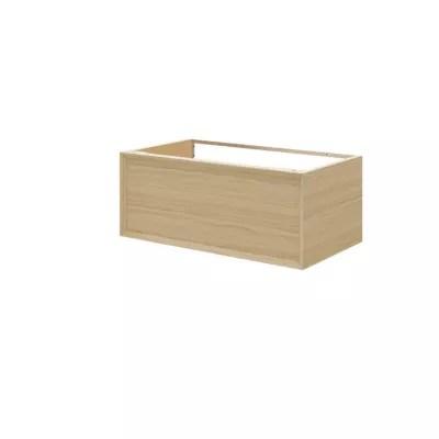 meuble sous vasque 1 tiroir a suspendre goodhome avela placage chene 80 cm