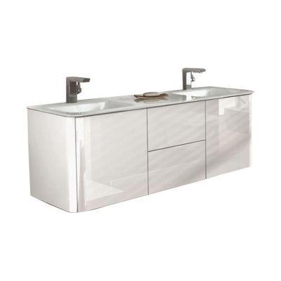 meuble sous vasque blanc brillant ceylan 140 cm