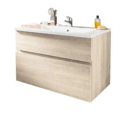 meuble sous vasque chene naturel 2 tiroirs cooke lewis calao 90 cm