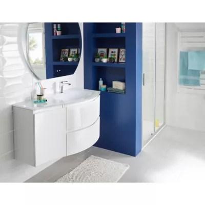 meuble sous vasque cooke lewis blanc vague 104 cm complement gauche plan vasque en verre