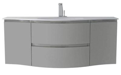 meuble sous vasque cooke lewis gris clair vague 138 cm complement gauche et droit plan vasque en resine