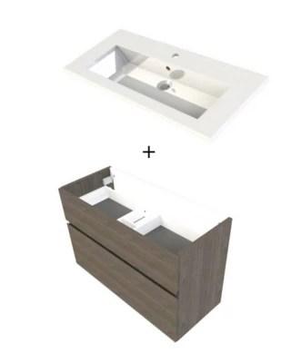 meuble sous vasque faible profondeur cooke lewis calao aspect chene fume 90 cm plan vasque en resine