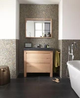 meuble sous vasque a poser cooke lewis harmon chene massif 90 cm plan vasque en pierre