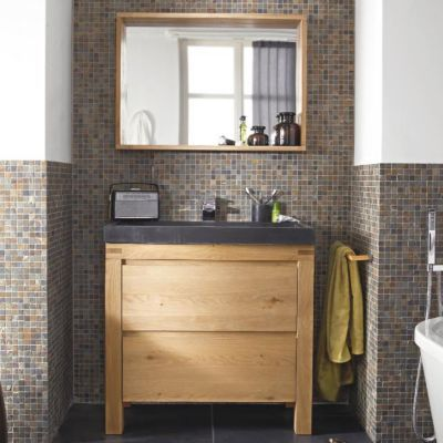 meuble sous vasque a poser cooke lewis harmon chene massif 90 cm