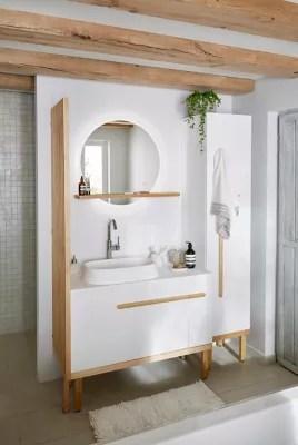 meuble sous vasque a poser goodhome adriska blanc 100 cm plan vasque ceara