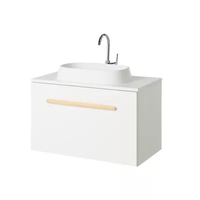 Meuble Sous Vasque A Suspendre Goodhome Adriska Blanc L 80 X H 48 X P 45 Cm Castorama