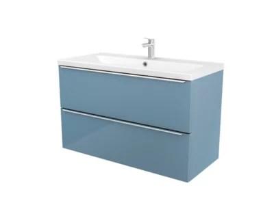 meuble sous vasque a suspendre goodhome imandra bleu 100 cm plan vasque mila