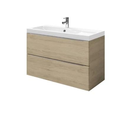 meuble sous vasque a suspendre goodhome imandra bois 100 cm plan vasque mila