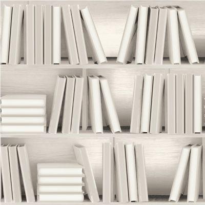 papier peint bibliotheque beige