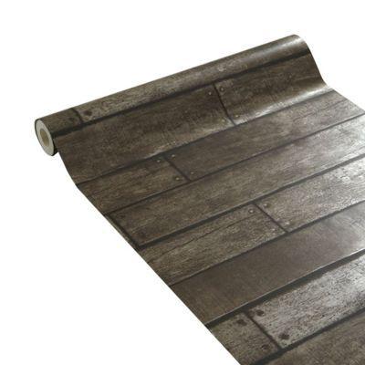 papier peint intisse lutece planche bois marron metal