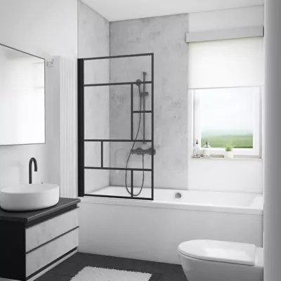 pare baignoire 80 x 140 cm schulte paroi de baignoire 1 volet pivotant verre transparent anticalcaire version gauche atelier