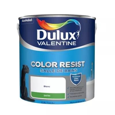 peinture monocouche salle de bains dulux valentine color resist blanc satin 2 5l