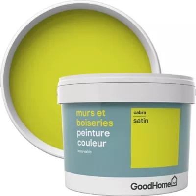 peinture murs et boiseries goodhome vert cabra satin 2 5l