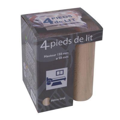 pied de lit de lits cylindre en hetre h 15 x o 5 8 cm 4 pieces