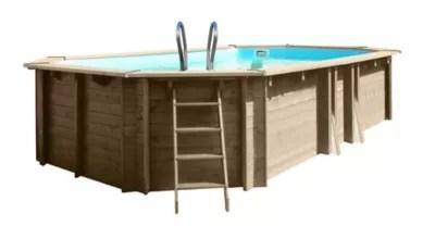 piscine bois blooma kariba liner bleu 6 37 x 4 12 m x h 1 33 m