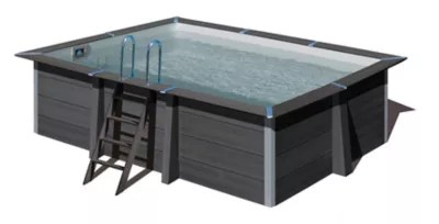 piscine composite gris gre 4 66 x 3 26 x h 1 24 m