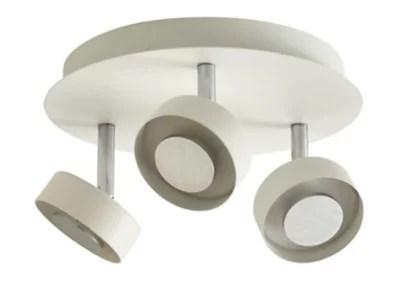 plafonnier 3 spots tharros metal blanc led 3x6 w