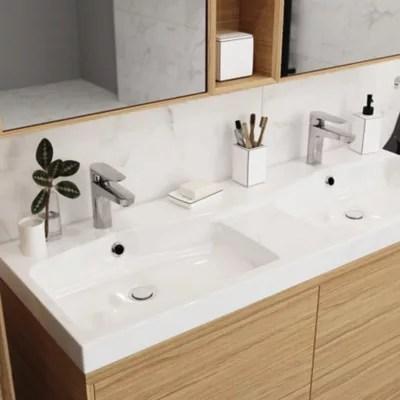 plan double vasque en resine blanc goodhome mila 120 cm
