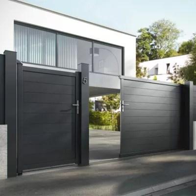 portail jardimat coulissant motorise aluminium alpes noir 350 x h 160 cm