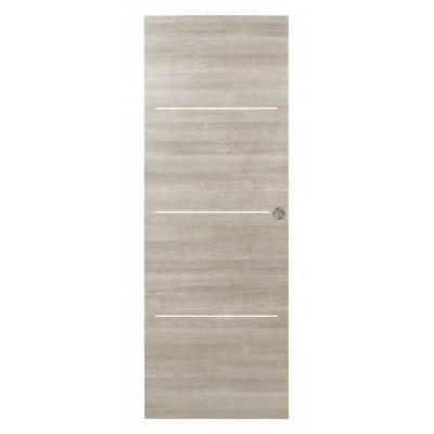 porte coulissante geom triaconta gris clair h 204 x l 73 cm