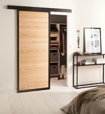 porte coulissante loft bois systeme en applique