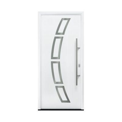porte d entree acier inserts blanc trafic 90 x h 215 cm poussant droit