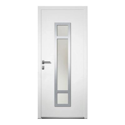 Porte D Entree Aluminium 4 Alu Paco Blanc 90 X 215 Cm Poussant Droit Castorama
