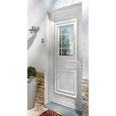 porte d entree pvc geom conveks blanc 90 x h 215 cm poussant gauche
