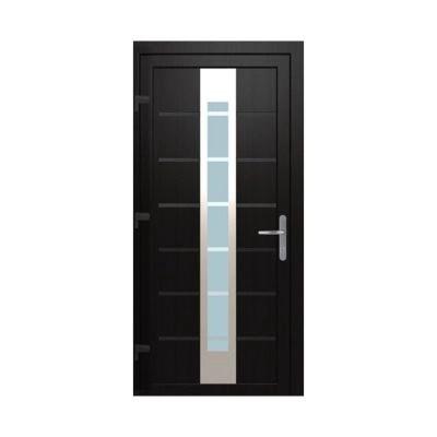porte d entree pvc geom numerus gris 90 x h 215 cm poussant gauche