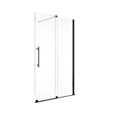 porte de douche coulissante 140 x 200 cm schulte newstyle verre transparent anticalcaire profile noir