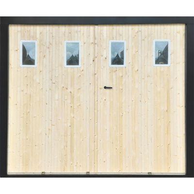 porte de garage 4 vantaux sapin hublots l 240 x h 200 cm en kit