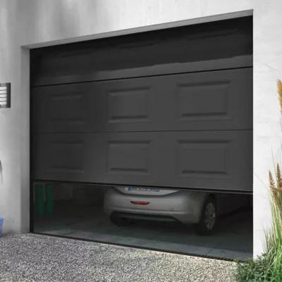 Porte De Garage Sectionnelle Motorisee Turia Anthracite L 240 X H 200 Cm En Kit Castorama