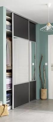 porte de placard coulissante miroir gris anthracite form valla 92 2 x 245 6 cm