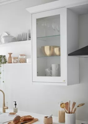 porte vitree de meuble de cuisine goodhome artemisia blanc l 49 7 cm x h 89 5 cm