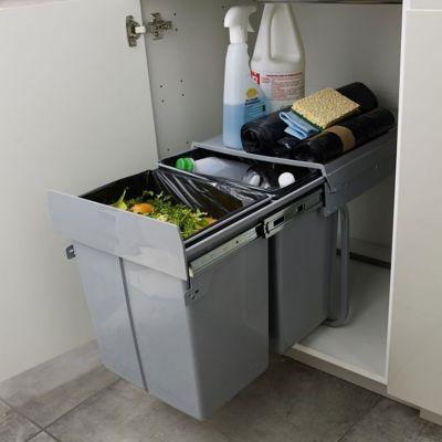 poubelle de meuble coloris gris 2 bacs 20l cooke lewis scala