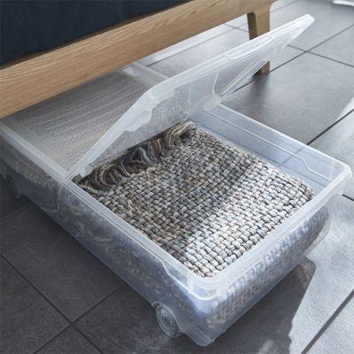 rangement dessous de lit en plastique kristal 30l transparent