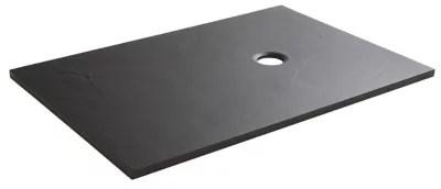 receveur de douche a poser recoupable rectangulaire resine minerale noire cooke lewis piro 90 x 120 cm
