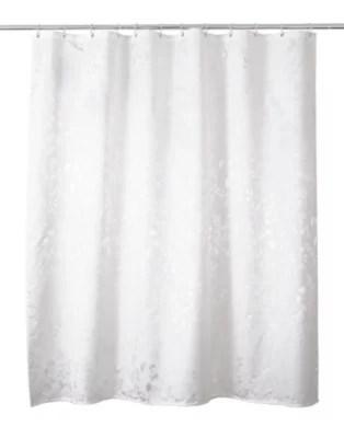 rideau de douche tissu blanc decor arbre 180 x 200 cm nessa