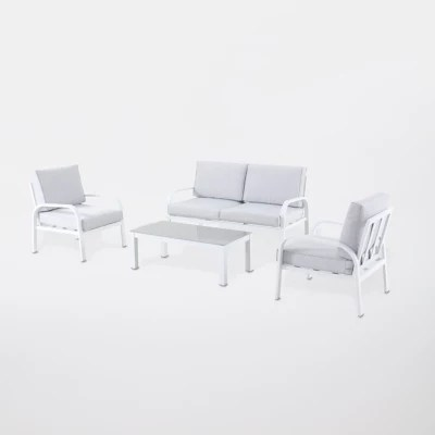 salon de jardin aluminium gioura blanc et gris