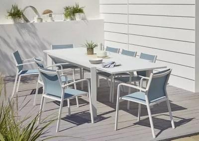 salon de jardin bacopia table 6 fauteuils bleu