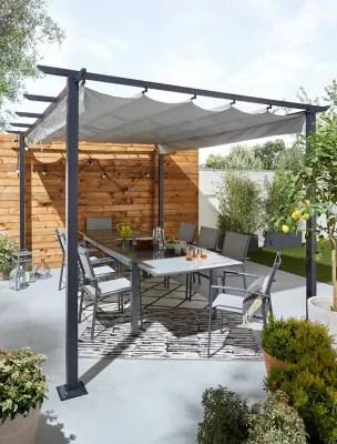 salon de jardin baru table 6 fauteuils gris