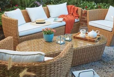 Salon De Jardin Bas Blooma Belle Isle Effet Rotin Marron 5 Personnes Castorama