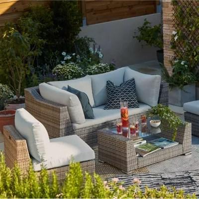 salon de jardin bas blooma maevea aluminium gris 4 personnes