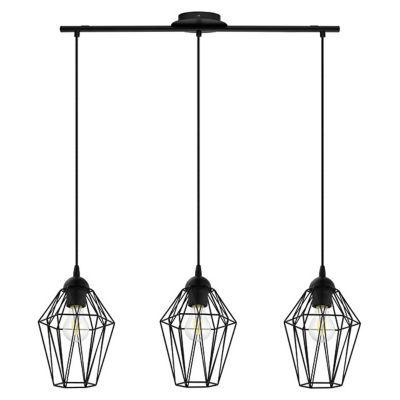 suspension 3 lumieres colours pingora noir l 17 x h 110 cm