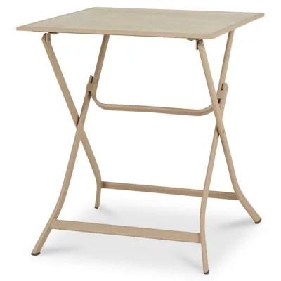 table de jardin metal carree blooma aronie sable 62 5 x 62 5 cm