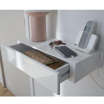tablette avec tiroir blanc form 50 cm