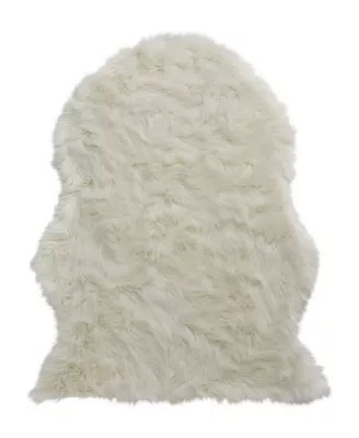 tapis blanc imitation peau de mouton 110 x 140 cm
